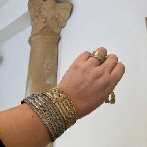ancienne ambiance greek goddess bracelet stack and goddess ring