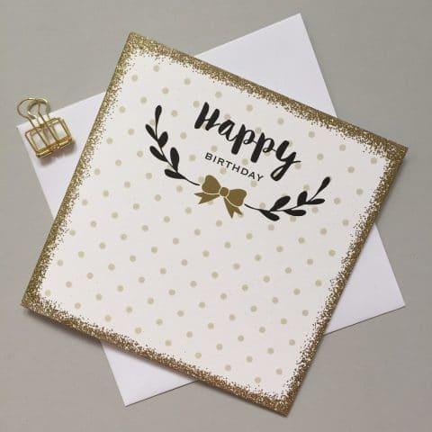 Happy Birthday Gold Bow Card