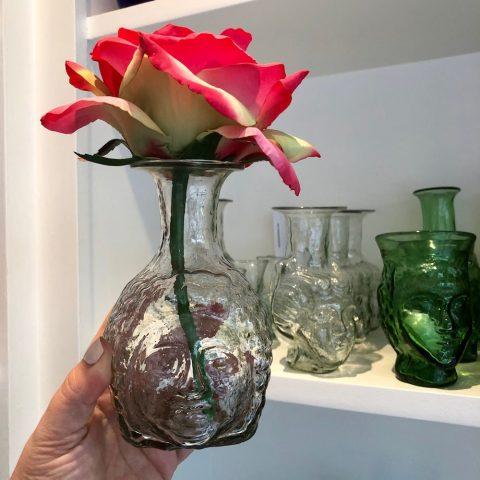 la soufflerie - clear glass djamal carafe - face vase - janus head vase - ancienne ambiance