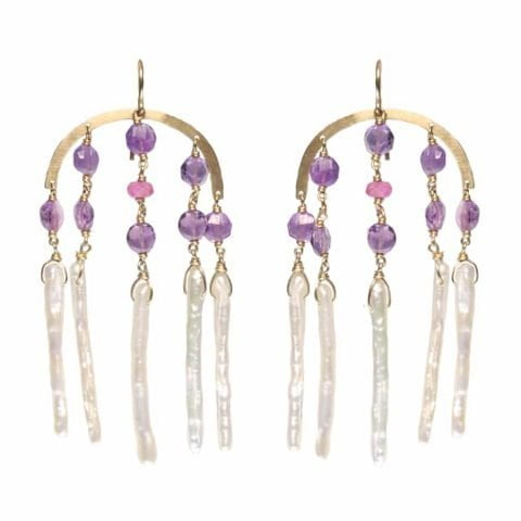 Claire van Holthe: Goddess Earrings Amethyst Sapphire Pearl Chandelier Earrings