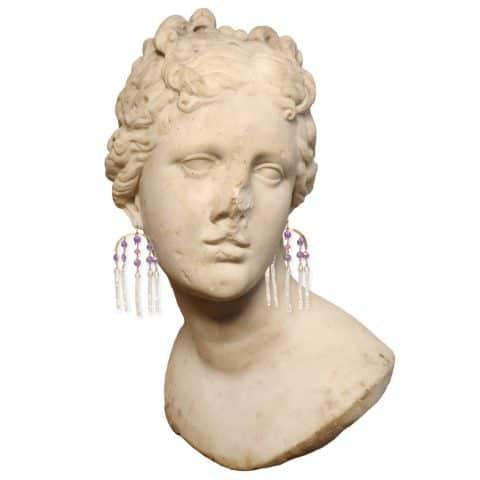 Claire van Holthe: Goddess Earrings Amethyst Sapphire Pearl Chandelier Earrings