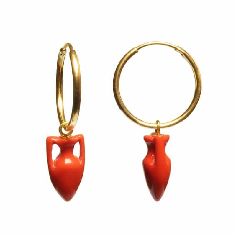 Maximos Coral Amphora Earrings