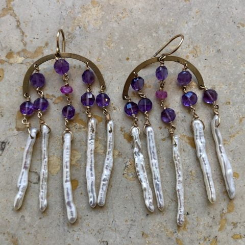 ancienne ambiance claire van holthe goddess earrings - amethyst chandelier earrings