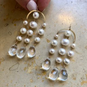 claire van holthe pearl chandelier earrings at ancienne ambiance