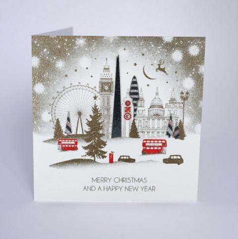 London Skyline Gold Christmas Card - Five Dollar Shake