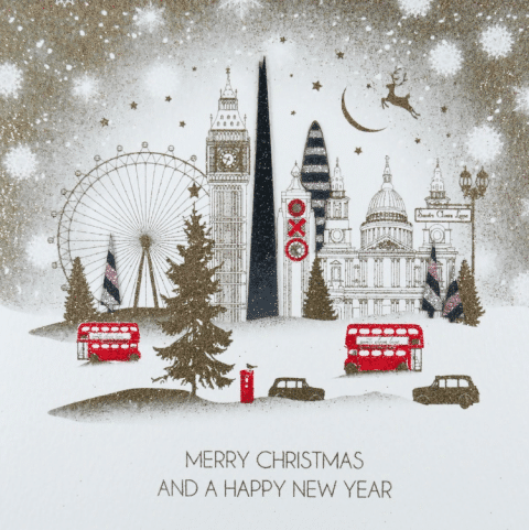 London Skyline Gold Christmas Card - Five Dollar Shake