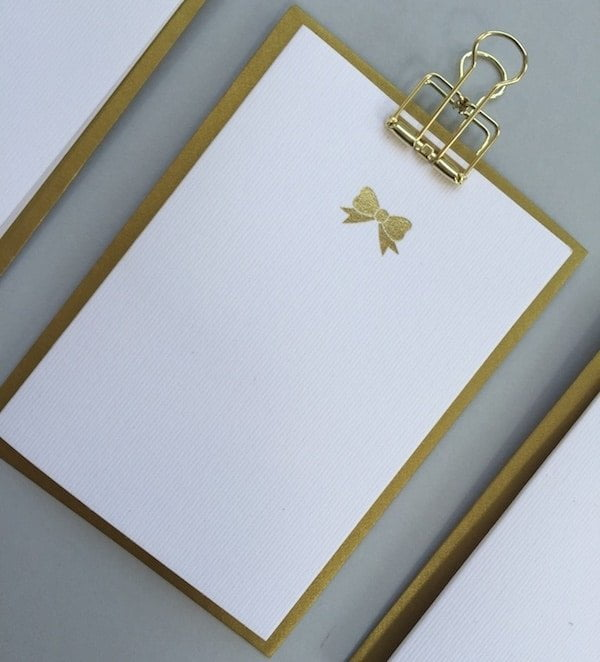 Gold Bow notecards set