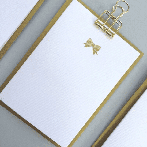 ancienne ambiance - stationery - Gold Bow notecards set - always sparkle greeting cards