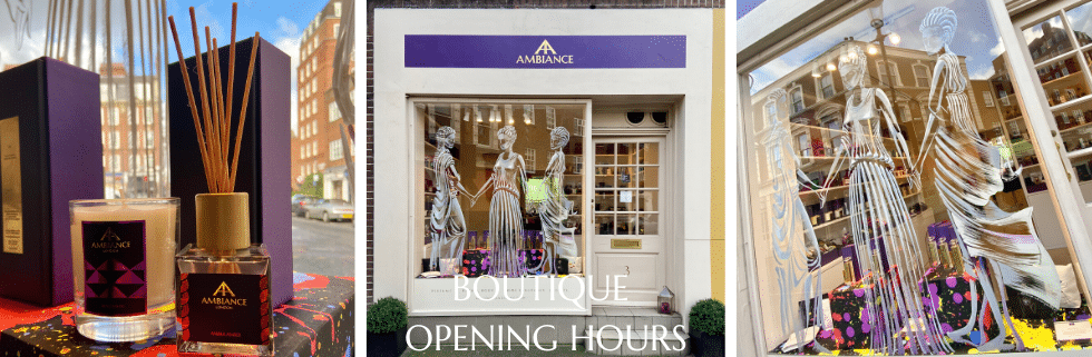 ancienne ambiance niche perfumes and luxury gifts in the heart of Chelsea, London - goddess window art shop front