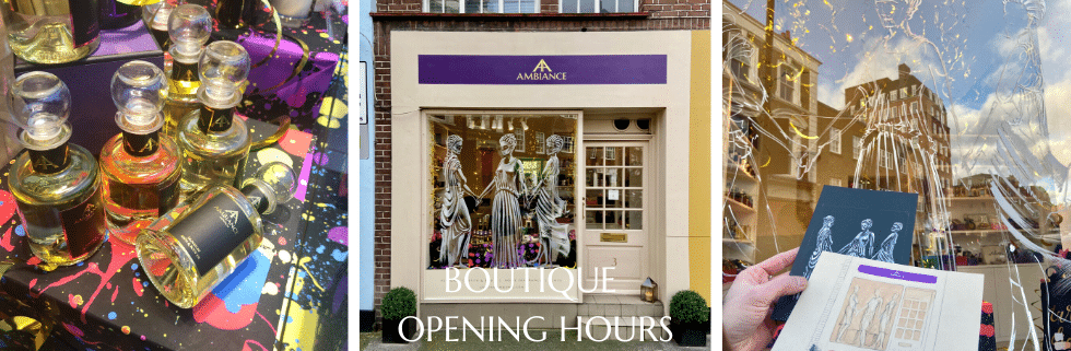 ancienne ambiance niche perfumes and luxury gifts in the heart of Chelsea, London - three graces window art