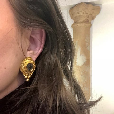 ancienne ambiance fine jewellery ancient coin 21kgold earrings
