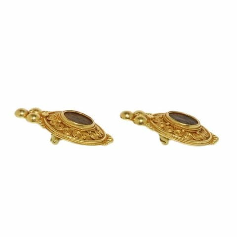ancienne ambiance etruscan revival 21k gold earrings with roman coins