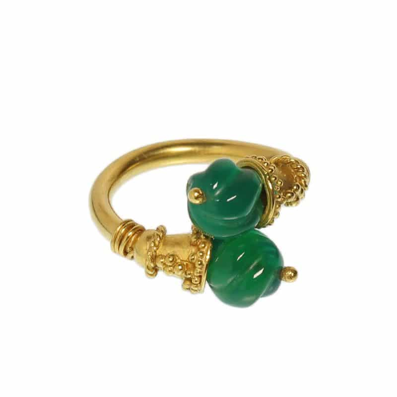 etruscan revival jade ring ancienne ambiance heritage 21k gold
