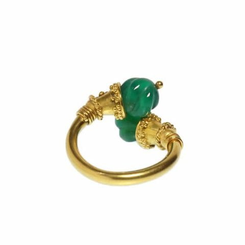 21k gold etruscan revival jade ring by ancienne ambiance