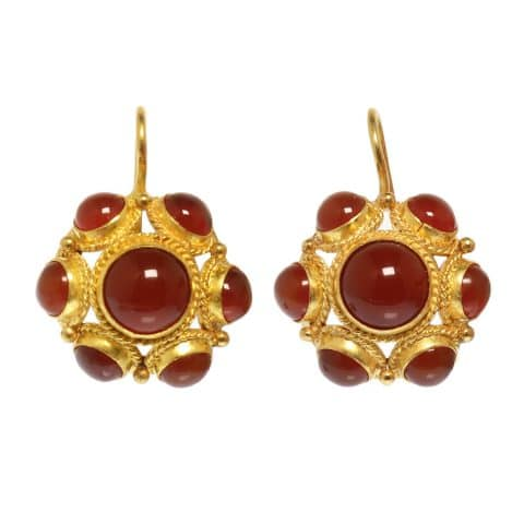 ancienne ambiance etruscan revival 21k gold earrings with carnelian