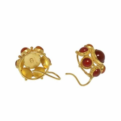 ancienne ambiance etruscan revival 21k gold earrings with carnelian cabochons