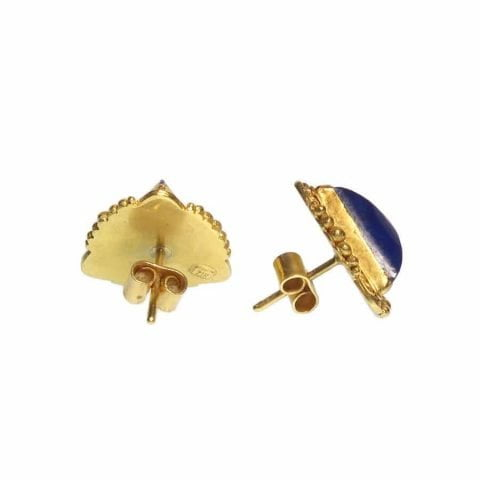ancienne ambiance - etruscan revival earrings - gold lapis studs - lapis lazuli studs