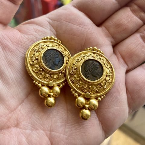 ancienne ambiance roman coin jewelry - coin earrings - 21k gold etruscan revival jewelry -