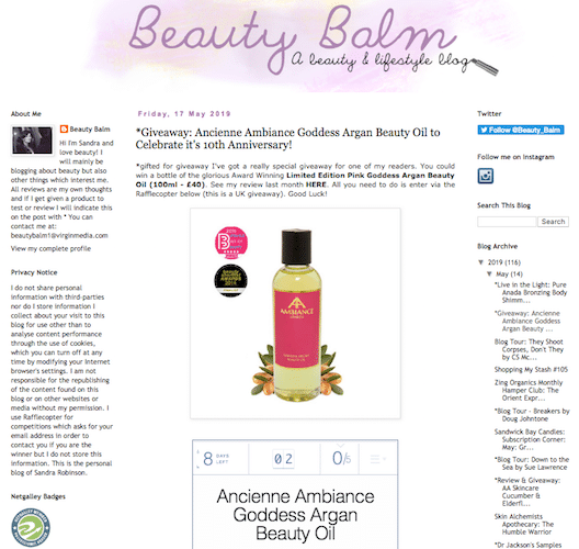 ancienne ambiance goddess oil skincare competition at beauty balm blog