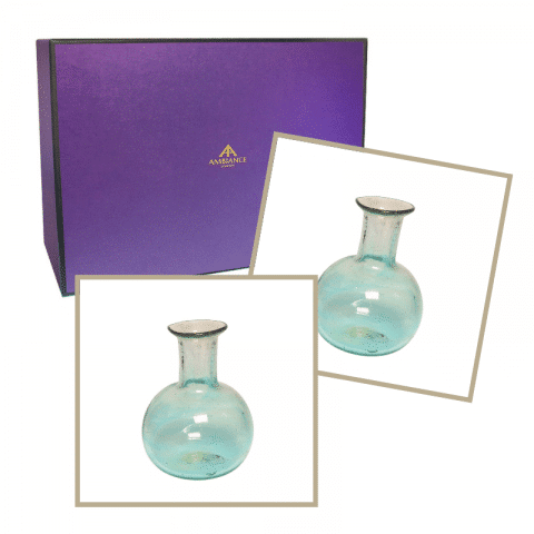 ancienne ambiance home gift set - la soufflerie turquoise piccola vases