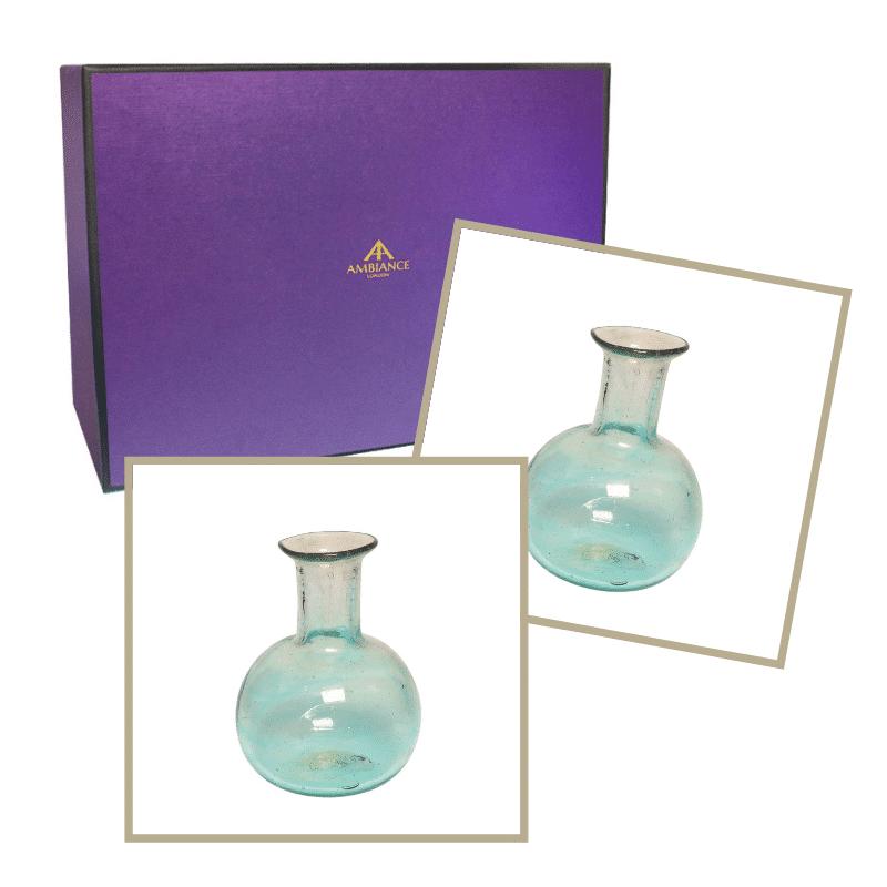 ancienne ambiance home gift set - la soufflerie turquoise piccola vases