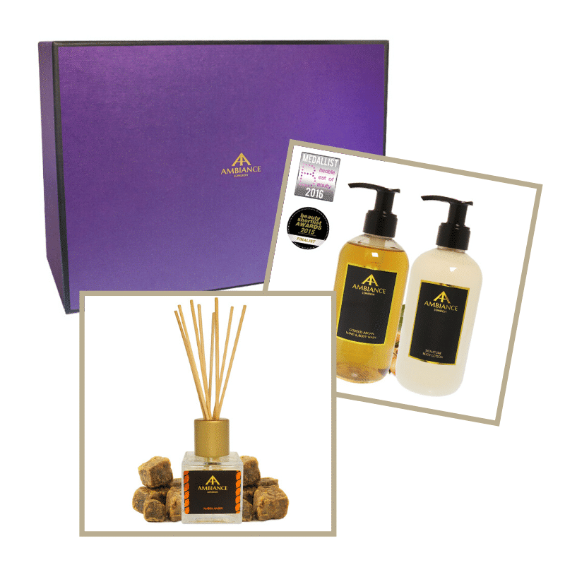 home fragrance gift set - luxury amber fragrance gift set - ancienne ambiance reed diffuser and lotion set