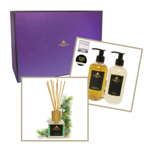 home fragrance gift set - luxury cedar fragrance gift set - ancienne ambiance reed diffuser and lotion set