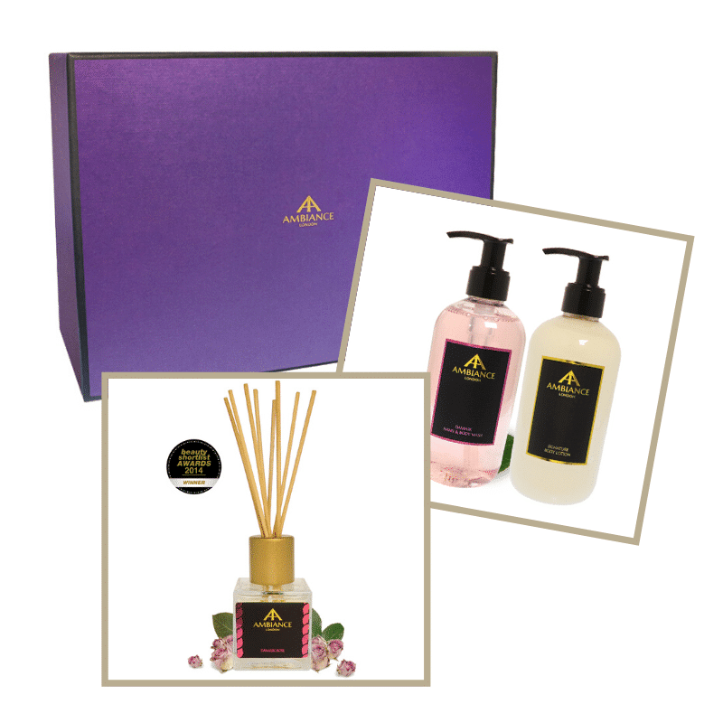 home fragrance gift set - luxury rose fragrance gift set - ancienne ambiance reed diffuser and lotion set
