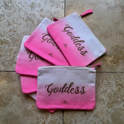 ancienne ambiance goddess makeup bag in pink ombre