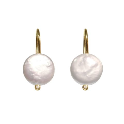 maximos pearl button earrings - ancienne ambiance