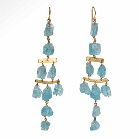 ancienne ambiance - claire van holthe blue apatite earrings - handmade chandelier earrings