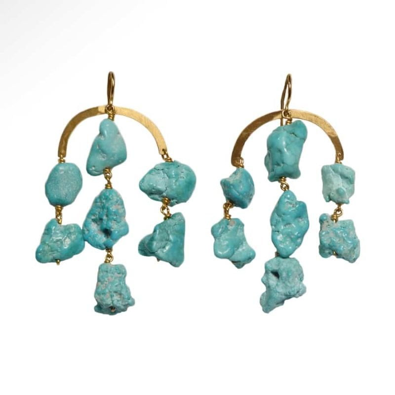 ancienne ambiance - claire van holthe turquoise chandelier earrings - handmade earrings