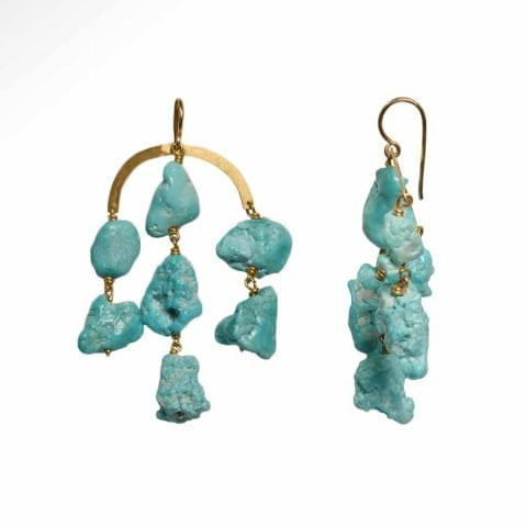 ancienne ambiance - claire van holthe turquoise chandelier earrings - chandelier earrings