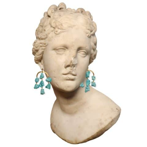 ancienne ambiance - claire van holthe turquoise chandelier earrings - goddess earrings