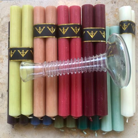 ancienne ambiance housewarming gifts - coloured candles - la soufflerie candle holders