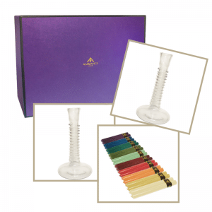 Luxury Housewarming Gifts - coloured dinner candle and la soufflerie glass candle holder gift set
