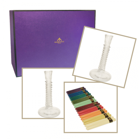 ancienne ambiance housewarming gifts - coloured dinner candle and la soufflerie glass candle holder gift set