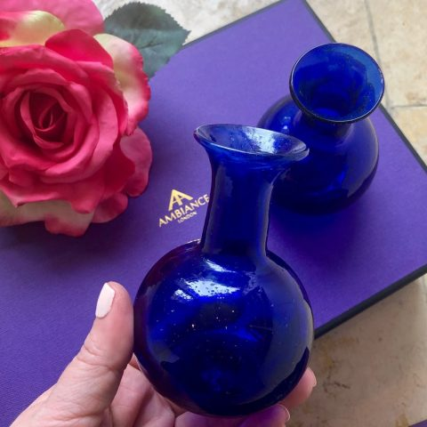 ancienne ambiance housewarming gifts - la soufflerie blue bud vases - gift set for the home - hand held vase