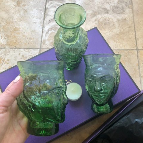 ancienne ambiance - la souffleried green head glasses - green head vase - tableware trio set