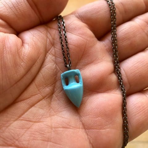 ancienne ambiance - maximos jewellery - turquoise amphora pendant necklace