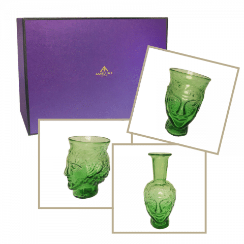 la soufflerie green head glass head vase trio gift set ancienne ambiance