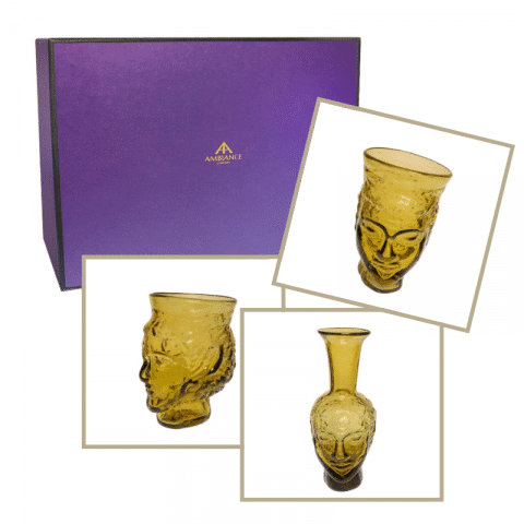 la soufflerie yellow head glass head vase trio gift set at ancienne ambiance