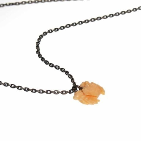 ancienne ambiance - maximos jewellery - CORAL CRAB pendant necklace - maximos zachariadis