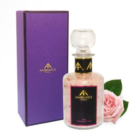 ancienne ambiance luxury rose bath salts in glass bottles
