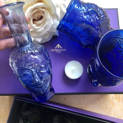 ancienne ambiance - La Soufflerie blue tete glass blue head vase gift set