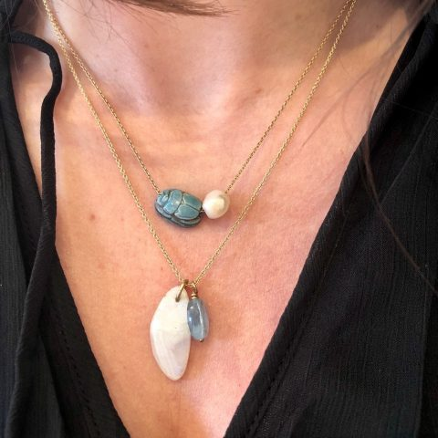 ancienne ambiance - claire van holthe necklace layering - moonstone aquamarine necklace - neck selfie