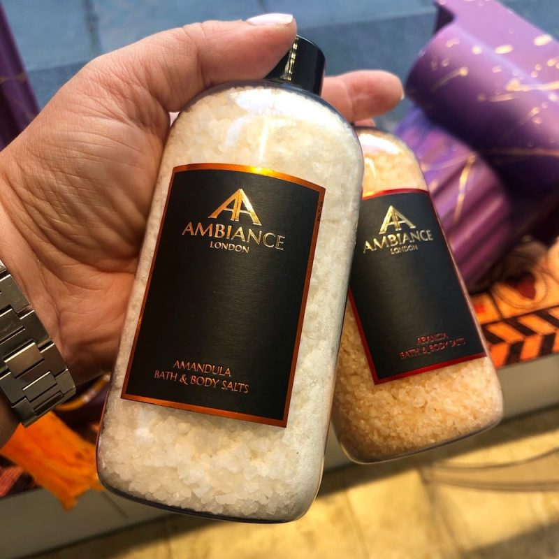 ancienne ambiance luxury bath salts (in hand) - amandula salts - arangia salts - epsom salts soak