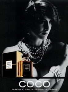vintage coco chanel ad - ines de la fressange - ancienne ambiance perfume layering