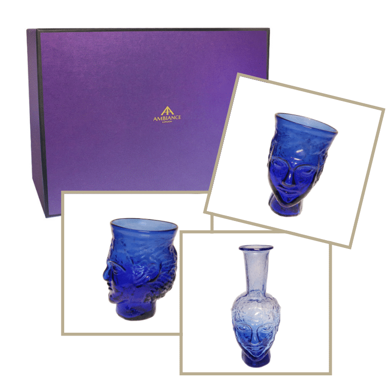 la soufflerie blue head glass head vase trio gift set ancienne ambiance