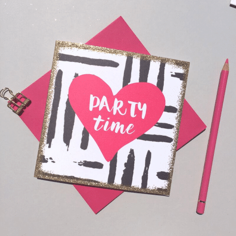 ancienne ambiance - party time pink heart card - always sparkle greeting cards